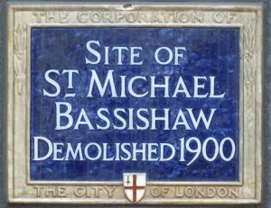 Blue Plaque at the site of the church, near the Guildhall