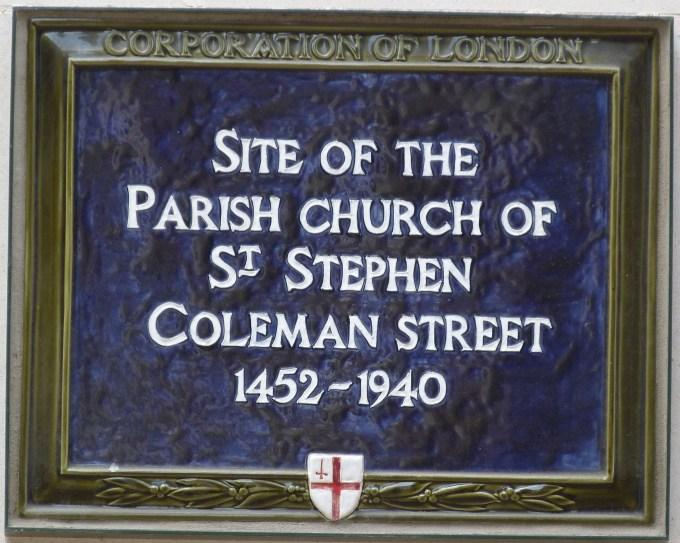 St Stephen Coleman Street plaque