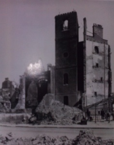 The bombed church of St  Mildred Bread Street