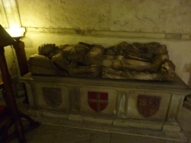 Effigy of knight in old church crypt