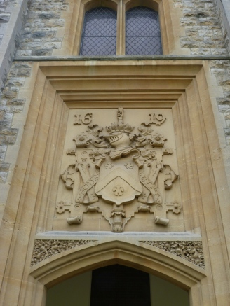 Plaque above chapel door