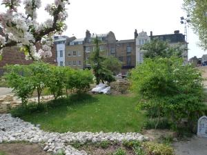 Inside Crossbones Graveyard - the Community Garden under construction