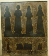 Brass memorial to George Aynsworth (d. 1488-9), his three wives, and their fourteen children