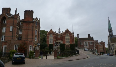 General view (Old Schools in centre, part of Chapel on right)