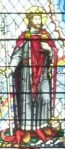 cropped Stained glass window with St Olaf in left panel, church of St Olave Hart Street