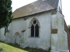 Rear of church with blocked-up Medieval doorway