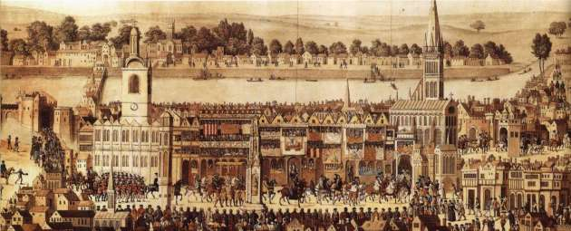 Edward VI's Coronation Procession in 1547, with Stews on Bankside in the background