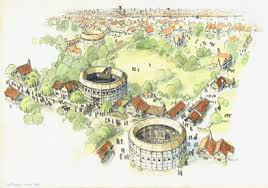 The Globe and Rose Play-Houses and an Animal-Baiting Arena on Bankside in 1602.
