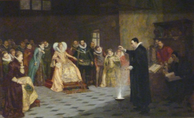 8 - Glindoni's painting of John Dee performing an experiment before Elizabeth I