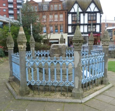 1 - Purported Coronation Stone, Guildhall Precinct (Medieval Clattern Bridge in middle ground)