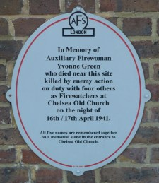 3 - AFS plaque commemorating Yvonne Green, killed on duty at Chelsea Old Church in 1941