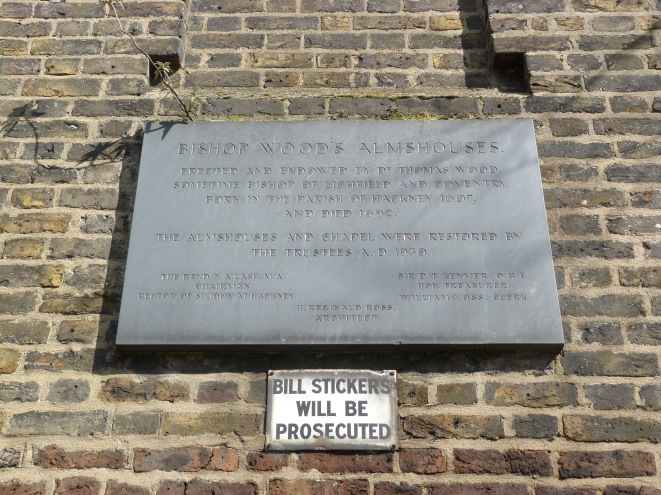 Bishop Wood's Alms-Houses plaque