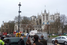 1 - General view of church from Parliament Square to north, with Westminster Abbey beyond