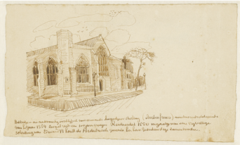 The Dutch Church as sketched by van Gogh in 1876