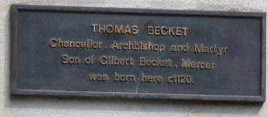 Plaque marking Becket's birthplace