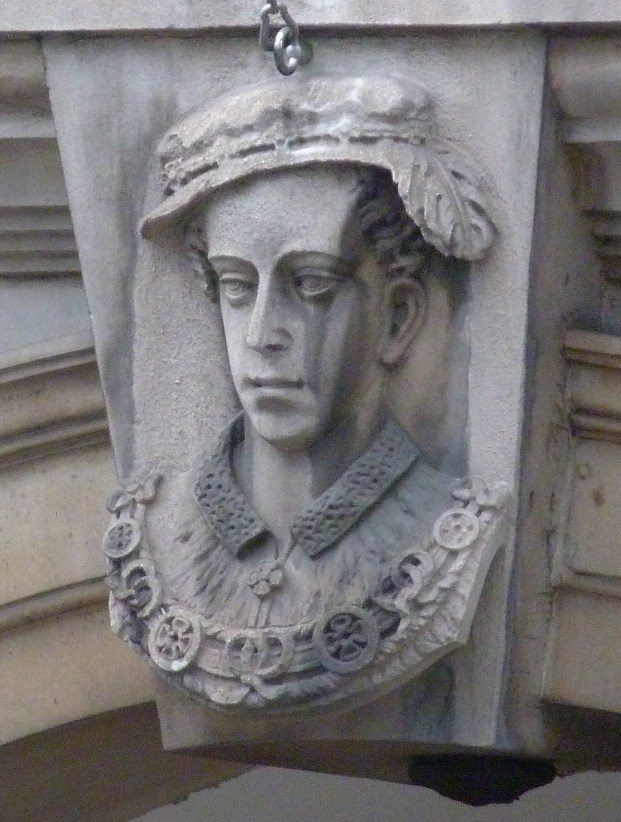 Bust of Edward VI on site of Bridewell Palace