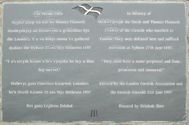 Commemorative plaque on Blackheath, put up on 500th anniversary of Battle