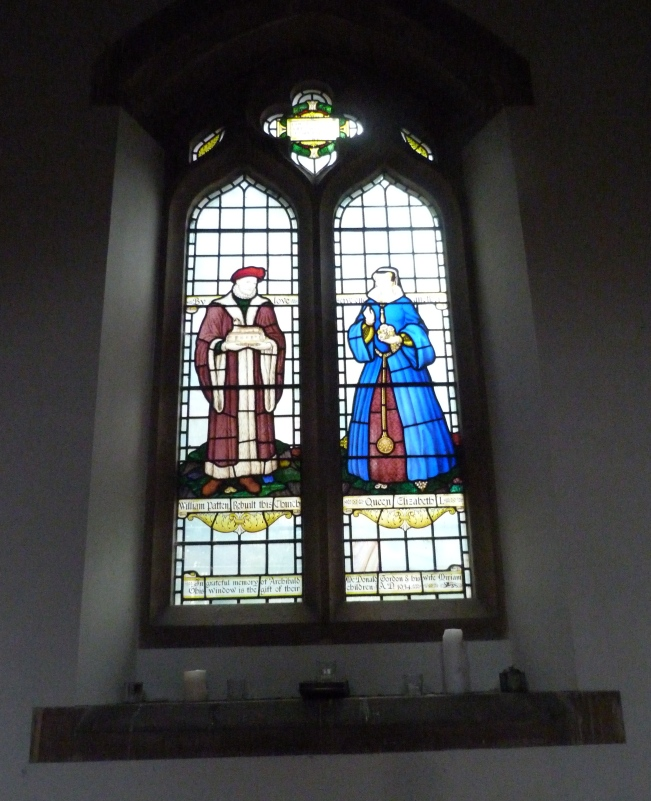 6 - Modern stained-glass window commemorating William Patten and Elizabeth I