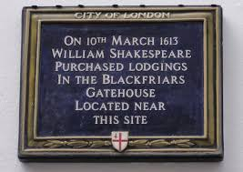 Shakespeare's house plaque