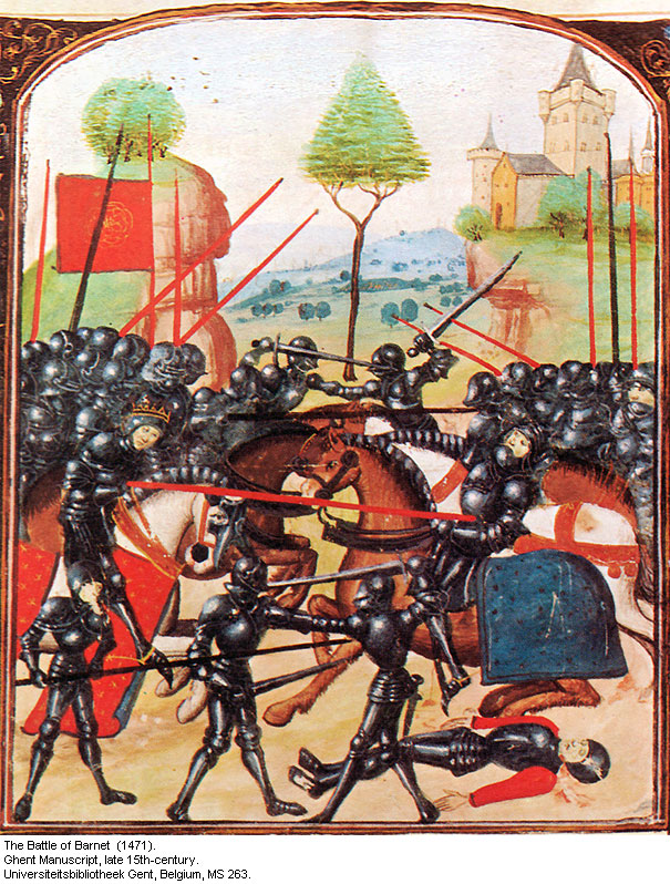 1 - Depiction of Battle of Barnet in contemporary Ghent Manuscript.jpg