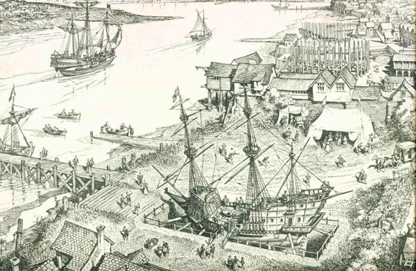 The Golden Hinde in Deptford in 1581