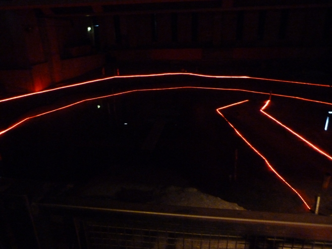 5 - Recently discovered Rose site, with outline and stage (plays are now performed in this space).JPG