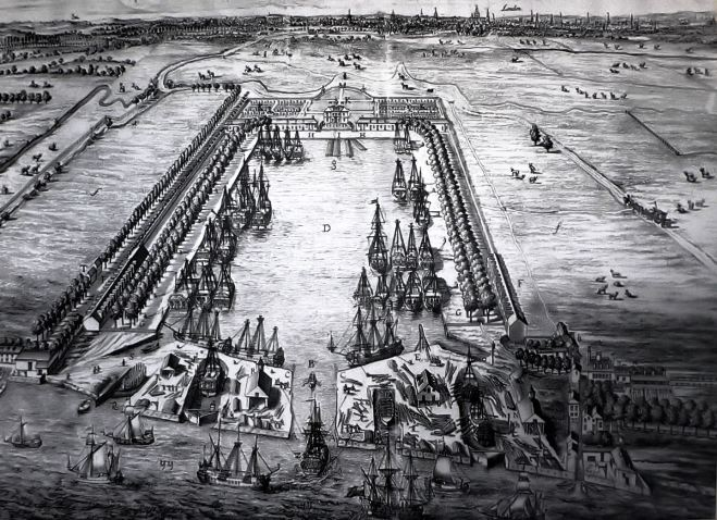 4 - Greenland Dock (formerly Howland Dock) in Deptford, used by London whalers, in 1717.jpg