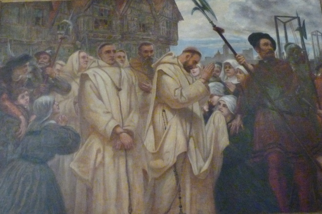 5 - Execution of Catholics at Tyburn (painting in Charterhouse).JPG