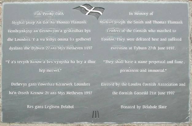 Commemorative plaque on Blackheath, put up on 500th anniversary of Battle.jpg