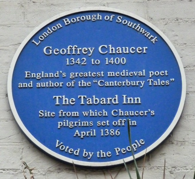 Chaucer plaque, site of Tabard Inn, Southwark