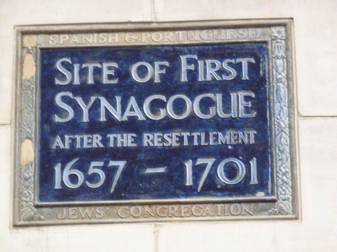 Plaque marking site of Creechurch Lane Synagogue (1657).JPG