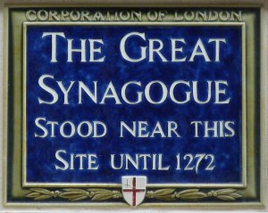 1 - Site of (First) Great Synagogue, Old Jewry (-1272)