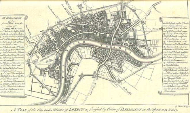 George Vertue's plan of London's Civil War defences
