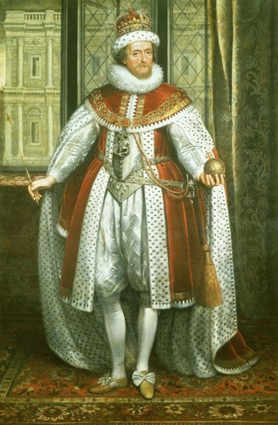 James I , with the Banqueting House in the background