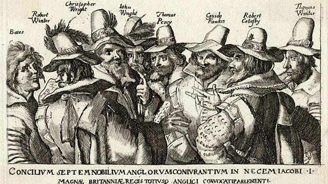 The Gunpowder Plotters, with Fawkes third from the right