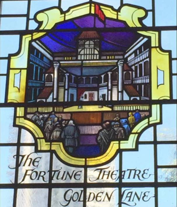 Fortune Theatre window, St Giles Cripplegate