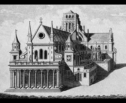 Old St Paul's as it would have looked just before the Great Fire of 1666 (note Inigo Jones's renaissance facade of 1633-41)