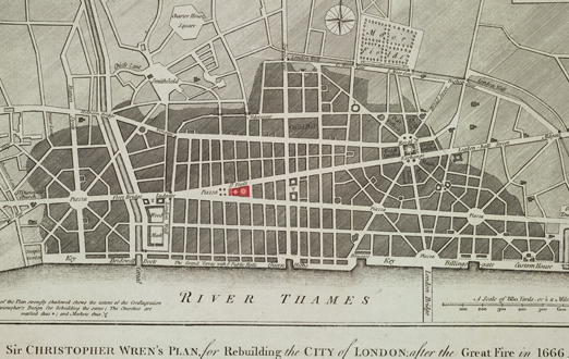 Wren's plan for the rebuilding of London