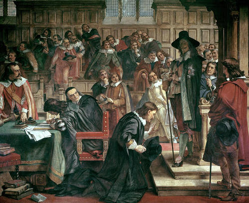 A nineteenth-century painting in the Houses of Parliament of the attempted arrest of the five members (Charles West Cope)