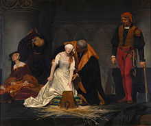 A romanticised view of the execution of Lady Jane Grey, by Delaroche