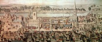 Edward VI's coronation procession in 1547, with old St Paul's in the background