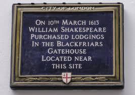 Shakespeare's house plaque