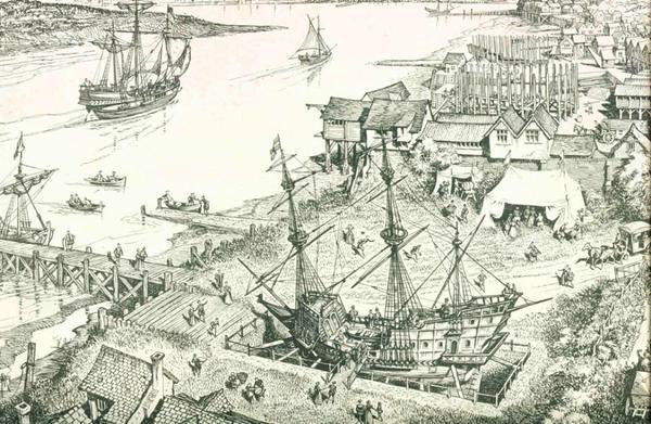 The Golden Hinde in Deptford in 1581