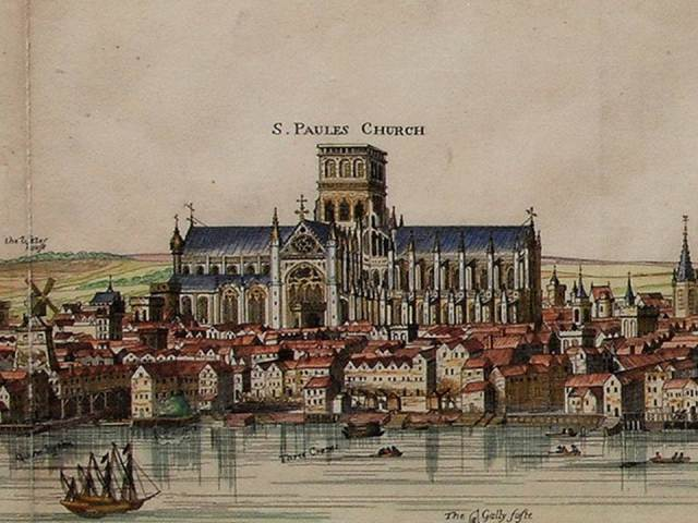 3 - Visscher panorama of 1616 showing old St Paul's without spire