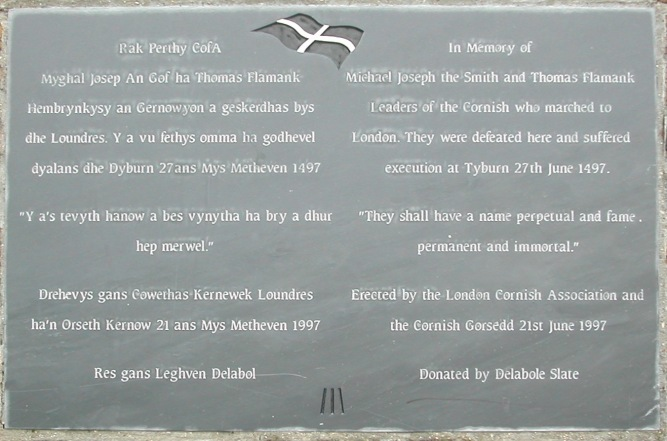 Commemorative plaque on Blackheath, put up on 500th anniversary of Battle.jpg