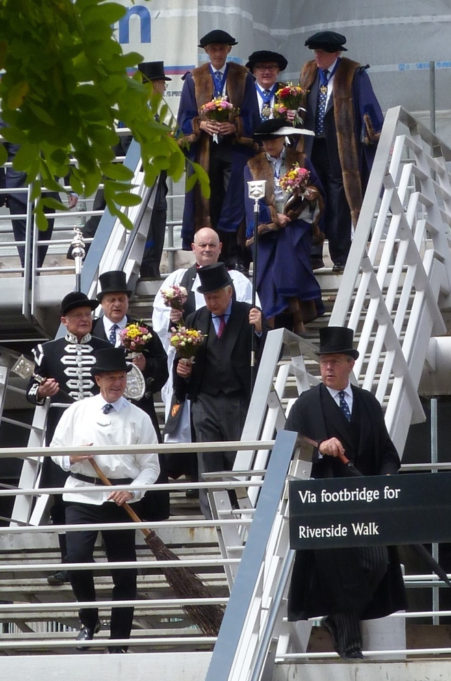 4 - The procession on the footbridge over Thames Street