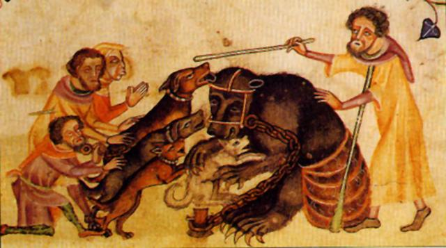 A Medieval depiction of bear baiting
