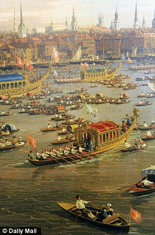 Detail of Canaletto painting of early eighteenth-century triumphal procession