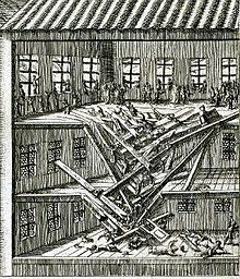 A contemporary engraving of the accident in Blackfriars