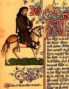 Chaucer depicted as a pilgrim in the Ellesmere Manuscript
